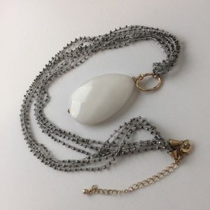 Jewelry - Extra Long Faceted White Pendant Woven Necklace